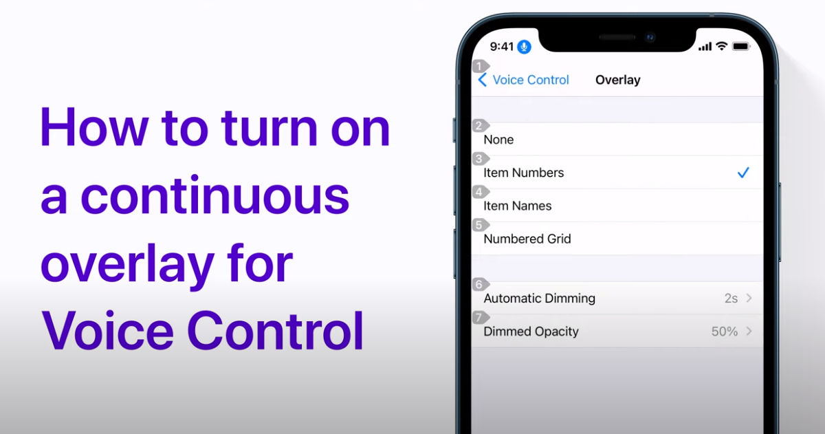 How to show a continuous overlay for Voice Control on iPhone